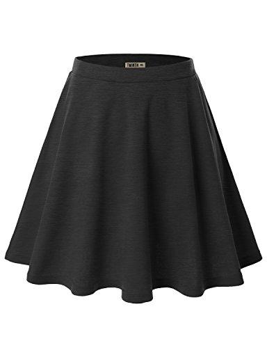 Doublju Womens Basic Versatile Stretchy Flared Skater Skirt CHARCOAL X-LARGE