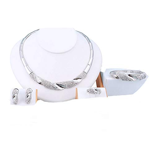 - OUHE 18K Sliver Plated Shinning Crystal Necklace Earrings Bracelet Ring Jewelry Set (Silver)