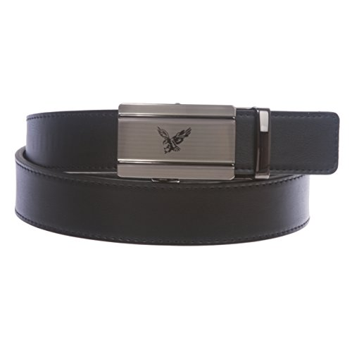 Men's Plain Leather Slide Ratchet Dress Belt with Eagle Design Automatic Buckle, Black | l 38''-40