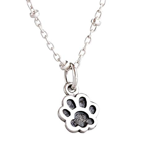 Tiny Dog Paw Print Necklace in Sterling Silver with Beaded Chain