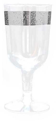 Decor Elegant Disposable Premium Heavy Weight Wine Cups, Inspiration Silver & Clear, 40 Count