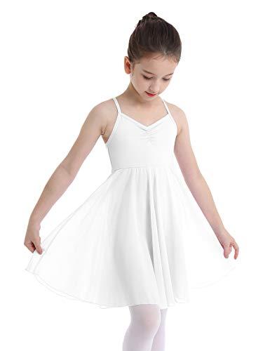 MSemis Kids Girls Criss Cross Back Camisole Leotard Chiffon Tutu Ballet Dress Lyrical Latin Dancewear White 8-10