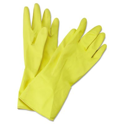 Flock-Lined Latex Cleaning Gloves, Medium, Yellow, 12 Pairs, Sold as 12 Each