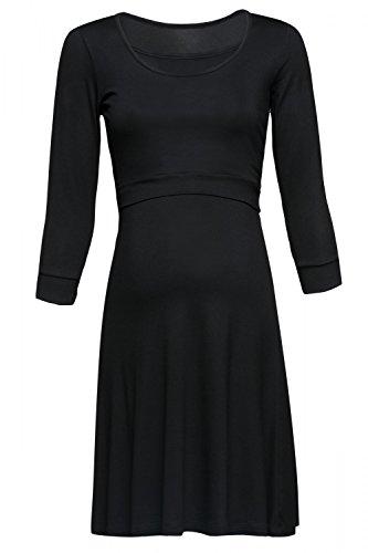 Happy Mama. Mujer Premamá Dos Piezas Vestido Top Corto Separado Lactancia. 721p Negro