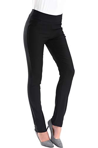 BodiLove Women's Full Length Straight Leg Performance Dress Pants Black 2(RKP3SL)