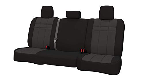 Rear SEAT: ShearComfort Custom Neoprene-Style Seat Covers for Toyota Tacoma (2016-2019) in Black w/Charcoal for 40/60 Split Back and Bottom w/ 3 Adjustable Headrests