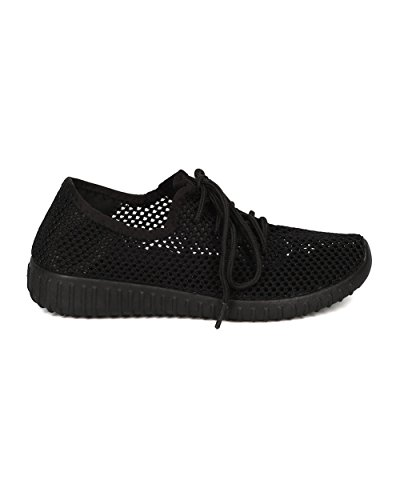 Qupid Women Fabric Jogger Sneaker - Casual, Running, Gym - Lace Up Lightweight Sneaker - GF25 by Black