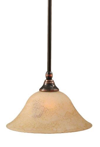 Toltec Lighting 23-BC-518 Stem Mini-Pendant Light Black Copper Finish with Italian Marble Glass, ()