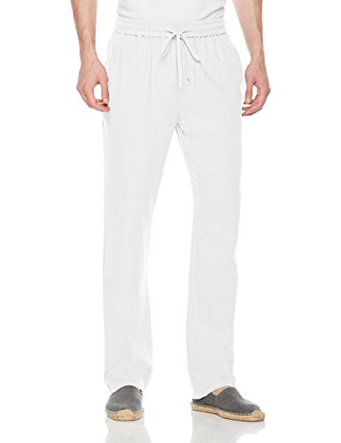Isle Bay Linens Men's Casual Linen Pant with Drawstring White 40