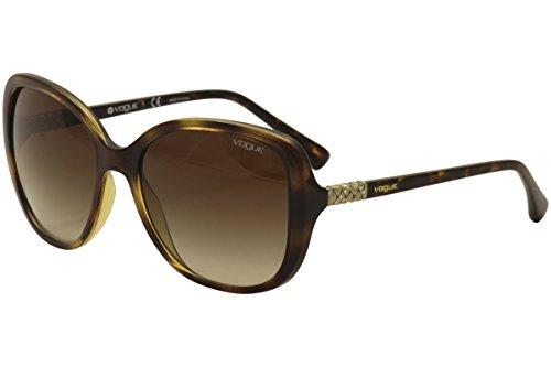 VOGUE Women's Injected Woman Oval Sunglasses, Dark Havana, 56 - Vogue Sunglasses In