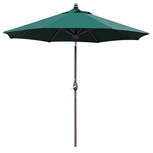 Abba Patio Sunbrella Patio Umbrella 9 Feet Outdoor Market Table Umbrella with Auto Tilt, Crank and Umbrella Cover, Canvas Forest Green For Sale