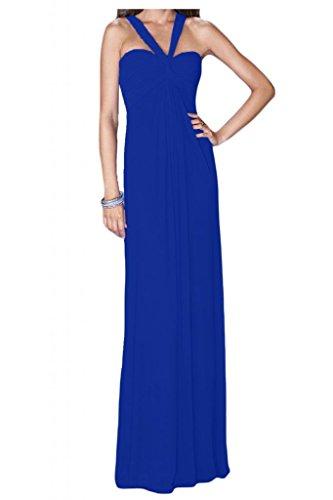 Toscana novia schlicht Imperio rueckenfrei vestidos de noche largos de la gasa de dama de honor vestidos de fiesta del partido Azul Real