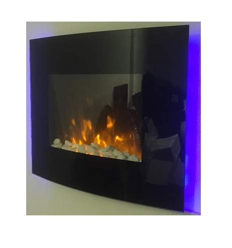 1.8kW Black Curved Glass Screen Wall Mounted Fire Flame Effect Fireplace with 7 Colour LED Backlights Tooltime