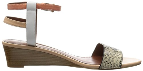 Cole Haan Women's Ayana Wedge Sandal Roccia Snake Print/Optic White Leather/Coral Haze Leather/Charcoal Gold/Metallic 4v3liZcvi