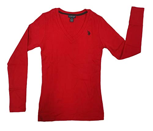 - U.S. Polo Assn. Women's Ribbed V-Neck T-Shirt, Seeing red, XL