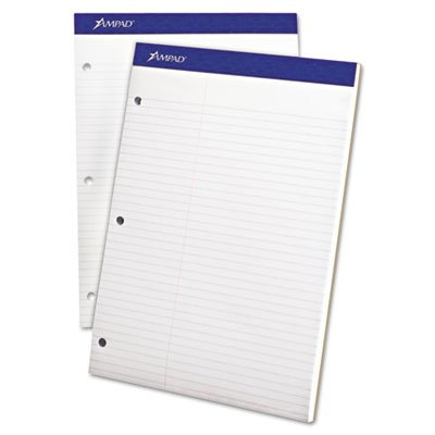 Double Sheet Pad, Law Rule, 8 1/2 x 11 3/4, White, Micro Perfed, 100 Sheets, Sold as 2 (Ampad Microperforated Writing Pad)