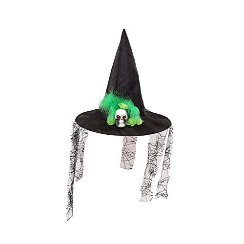 SHENGZ Creative Party Hat Halloween Ghost Lace Witch Hat Costume Fabric Decoration Props Feather Witch Hat,2PCS