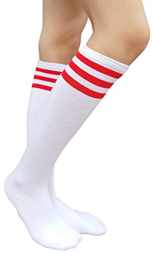 AM Landen Women's Casual White with Three Red Stripes Knee High Socks Girls socks