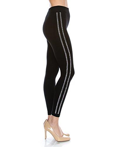 Rhinestone Black Leggings (Fifth Parallel Threads Womens Bling Striped Studed Leggings Stripe Black XL)