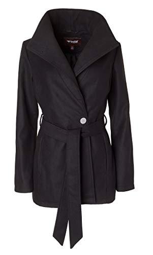 Sportoli Women's Wool Look Single Breasted Asymmetric Belted Dress Wrap Pea Coat - Black (Size ()