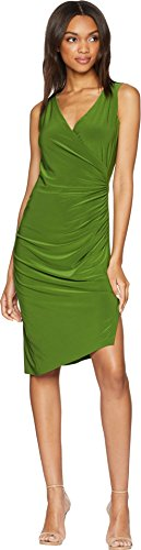 - KAMALIKULTURE by Norma Kamali Women's Sleeveless V-Neck Side Drape Dress Olive X-Small