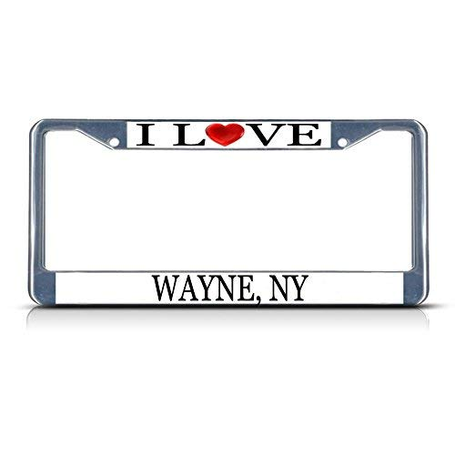 Cukudy Car Auto Tag Holder Chrome I Love Heart Wayne Ny Aluminum Metal Car Auto Tag Holder Chrome Silver (Best Auto Tags Wayne)