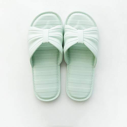 Bathroom Slippers Female Summer Student Bedroom Bath Plastic Soft Bottom Couple Non-Slip Hoist Shoes (Color : Light Green, Size : 37)