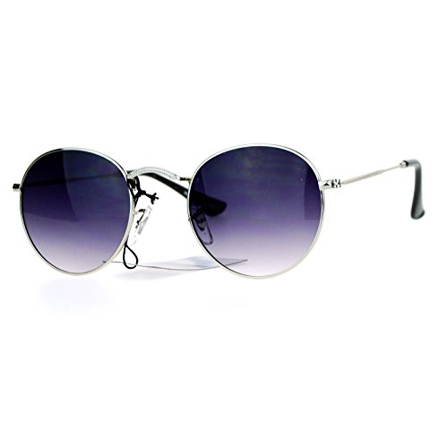 SA106 Vintage Style 90s Snug Fit Oval Round Metal Sunglasses Silver - Sunglasses Round 90s