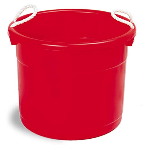 (Continental Commercial Huskee Hauler 19 Gallon Capacity Bucket with Handles, Red )