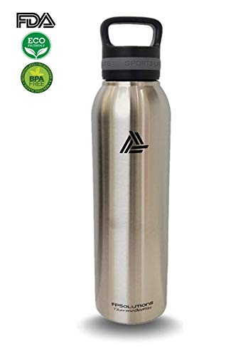 Silver Powder Coated Bottle - FPSolutions Stainless Steel Water Bottle Vacuum Insulated Double Wall Designed with Powder Coated Technology to Keep Your Drink Hot or Cold in All Environments Worldwide (Silver, 24oz)