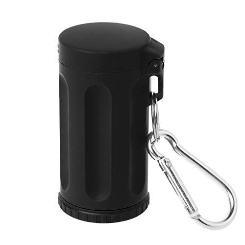 Mukoo Portable Mini Pocket Lid Ashtray Windproof Key-Chain Outdoor Smoking Accessories (Black)
