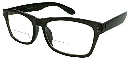 Lens Gray Plastic (Edge I-Wear Plastic Reader with Clear Bifocal Lens 540748TCB3.00-2(Shiny CL GRAY/Shiny BLK))