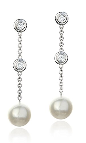 (14k White Gold 7-7.5mm Cultured Pearl and Diamond Dangle Earrings)