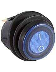 Keenso Car Rocker LED Switch, 12V 16A Toggle Illuminated Blue Light Round Switch SPST On-off Control 3 Pin