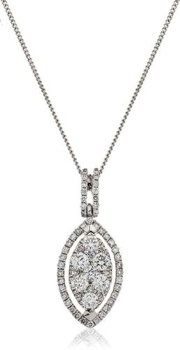 0.45CT Certified G/VS2 Round Brilliant Cut Marquise Shape Cluster with Marquise Shape Halo Diamond Pendant in 18K White Gold