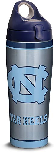 Tervis 1309965 North Carolina Tar Heels Tradition Stainless Steel Insulated Tumbler with Navy with Gray Lid 24oz Water Bottle Silver