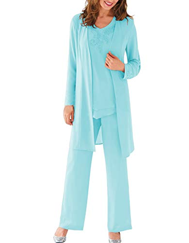 Aesido Women's 3 Pieces Pant Suits Formal Mother of The Bride Dresses Chiffon Long Sleeves Outfit for Wedding Groom 2019(Ice Blue,US16)