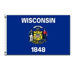 Annin Flagmakers Model 145980 Wisconsin State Flag Nylon SolarGuard NYL-Glo, 5×8 ft, 100% Made in USA to Official Design Specifications For Sale