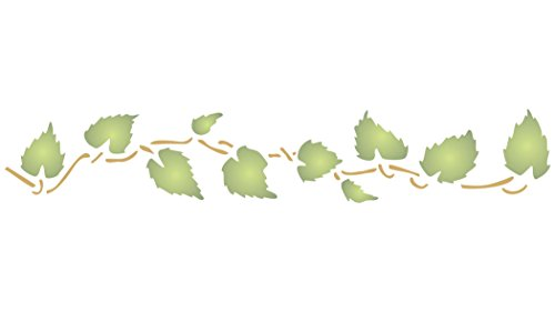 "Mini Leaves Stencil (size 8.5""w x 1.5""h) Reusable Stencils for Painting - Best Quality Leaf Border Wall Art Décor Ideas - Use on Walls, Floors, Fabrics, Glass, Wood, Cards, and More… by Stencils for Walls"