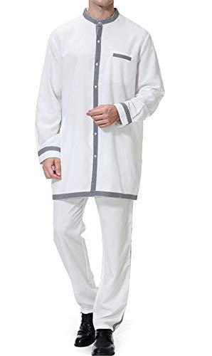 X-Future Men Long Sleeve 2 PCS Outfits Muslim Pants Arabian Kaftan White US S]()