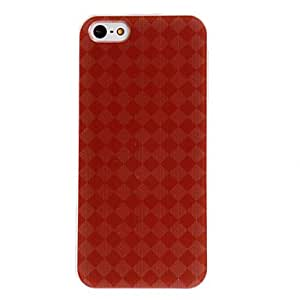TOPAA Dark Red Check Pattern PC Hard Case with Transparent Frame for iPhone 5/5S