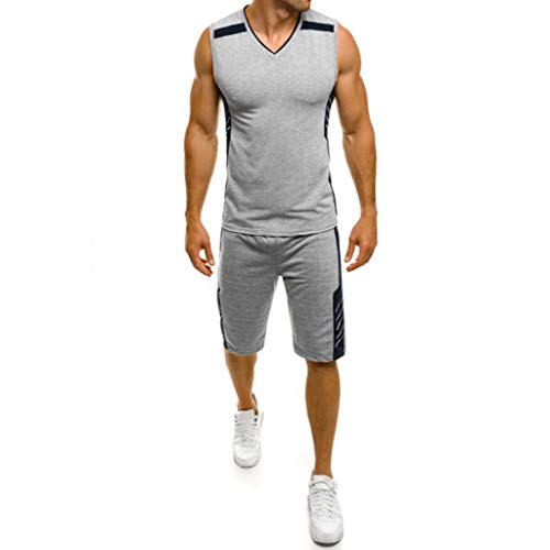 FEDULK Men's Sports Set Sleeveless Tank Tops Blouse Shorts Pants Body Shaper Elastic Training Running Suit (Gray, US Size S = Tag M)