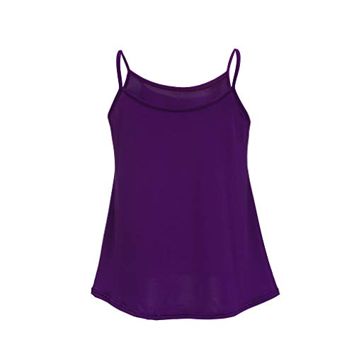OrchidAmor Fashion Womens Solid O-Neck Vest Tank Casual Sleeveless Camis Blouse Top Purple