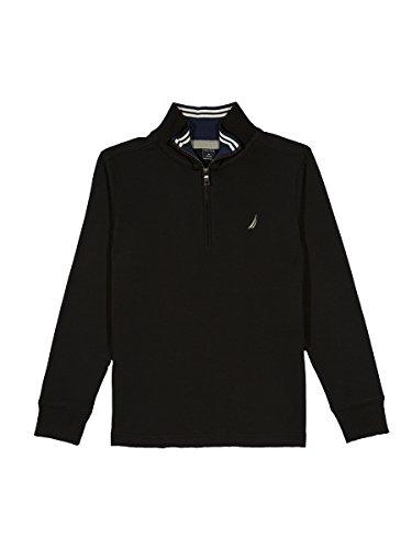 Nautica Little Boys' Lightweight Long Sleeve Quarter Zip Shirt, Black, - Ashworth Lightweight Pullover