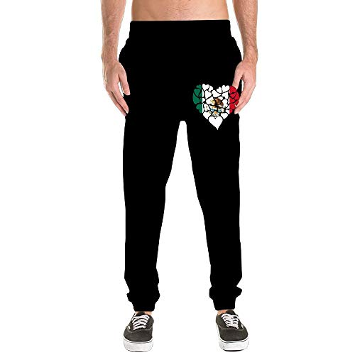 Mens Elastic Sweatpant, 100% Cotton Mexico Flag Heart Love Jogger Pants by Nm45kL&KU