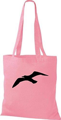 ShirtInStyle Bolso de tela Bolsa de algodón Vela Motivo Gaviota Rosa