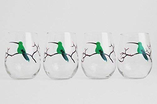 Hummingbird Glassware, Hummingbird Glasses - Set of 4 Stemless Hummingbird Glasses, Painted Glasses