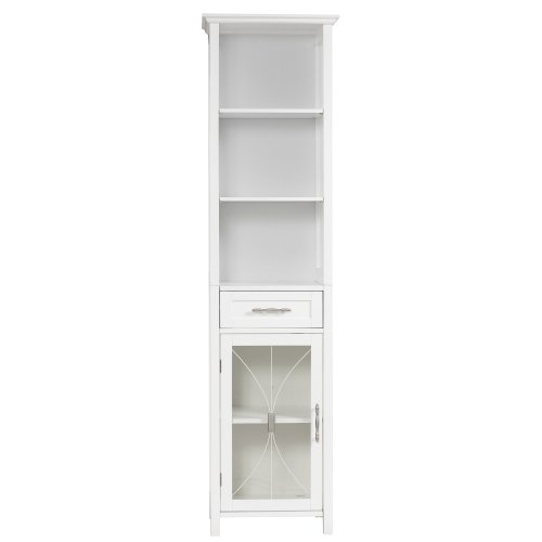 Elegant Home Fashions Stanley Linen Cabinet with 1 Drawer and 3 Open Shelves, White