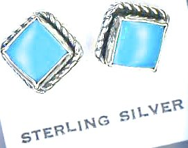 STERLING SILVER MINI SQUARE ROPED EDGE TURQUOISE EARRINGS ON POSTS