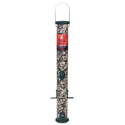 Ring Pull Tube Seed Feeder 23 in Forest Green